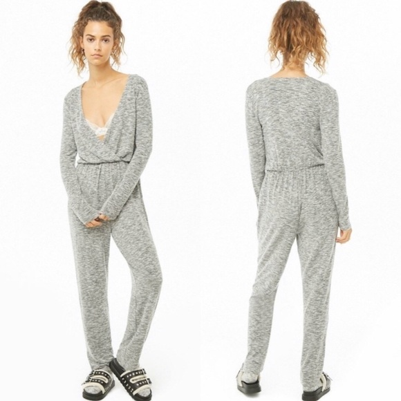 Forever 21 Pants - NEW Heather Grey Marled Knit Surplice Jumpsuit